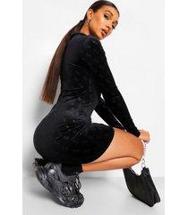 velours mini jurk met b reliëf en rits, black