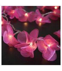 cordáo de luz - luz de fada crie casa organza pompom rosa
