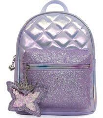 omg! accessories quilted mini backpack with glitter pocket