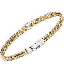 18k white gold, goldtone stainless steel & diamond rope bangle bracelet