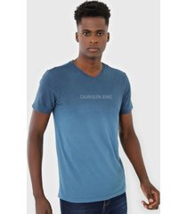 camiseta calvin klein jeans lettering azul