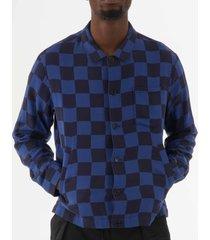 ymc bowling shirt - navy & blue p2lal40