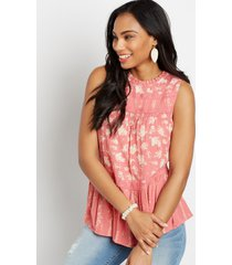 maurices womens pink floral crochet trim babydoll tank top