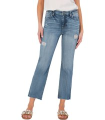 women's kut from the kloth kelsey ripped high waist ankle flare jeans, size 0 - blue