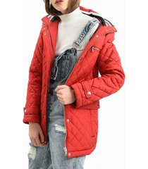parka chevron quilted rojo tommy hilfiger