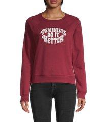 rebecca minkoff women's feminists do it better cotton-blend sweatshirt - dark red - size xxs