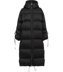 prada padded coat with roll-up buckle sleeves - black