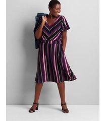 lane bryant women's striped flutter-sleeve fit & flare dress 10/12 multi stripe