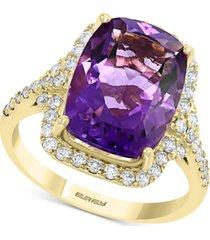 effy amethyst (5-5/8 ct. t.w.) & diamond (1/2 ct. t.w.) emerald-cut ring in 14k gold