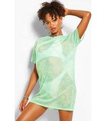 mesh tie dye t-shirt jurk, muntgroen