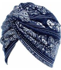 donna beanie in twist cotone turbante di stile rurale floreale