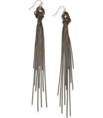"""thalia sodi extra large gold-tone black knotted chain linear earrings, 5.75"""", created for macy's"""