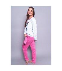 pijama poa personagem longo 4 estações feminino com tapa olho inverno adulto rosa