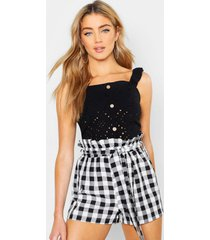 broderie anglaise button top, black