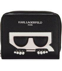 karl lagerfeld paris women's logo zip-around wallet - black