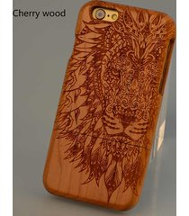 for iphone 7 6s plus natural wooden wood lion taatoo phone case cover
