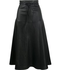 valentino braided-belt a-line skirt - black