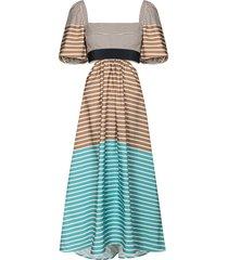 silvia tcherassi blaine horizontal-stripe midi dress - brown