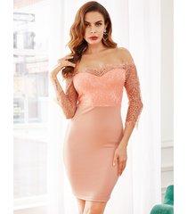 vestido de manga 3/4 de encaje rosa con hombros descubiertos de yoins