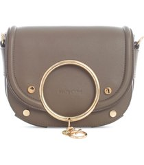 see by chloé solid colour rounded crossbody w/ring