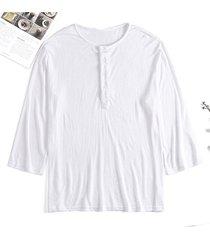 camiseta delgada de manga larga con botones sueltos ocasionales finos para hombres cuello