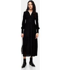 black cardigan tiered midi dress - black