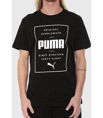 camiseta puma box preta masculina