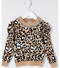 river island mini girls brown puff sleeve necklace jumper