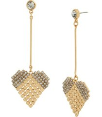 jessica simpson disco mesh heart dangle earrings