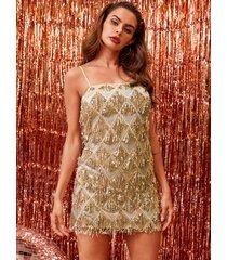 vestido sin mangas adornado con lentejuelas doradas de yoins