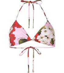 dolce & gabbana rose print bikini top - red