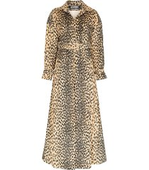 jacquemus leopard-print belted trench coat - brown