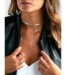 collar de cadena de lentejuelas plateadas con múltiples capas