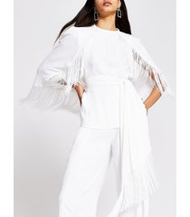 river island womens white tassel tie belted cape sleeve top