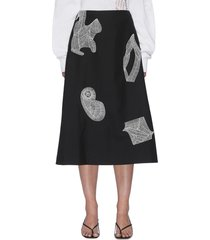 graphic crochet patch a-line midi skirt