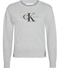 jersey de algodón orgánico con logo gris calvin klein