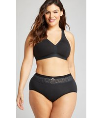 lane bryant women's cotton full brief panty with lace waist 26/28 black