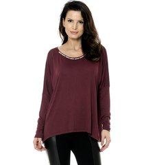 blusa bisô tricô ampla feminina