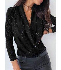 blusa de manga larga con cuello en v y purpurina