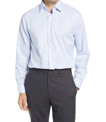 men's big & tall nordstrom traditional fit pinstripe non-iron dress shirt, size 18.5 - 36/37 - blue
