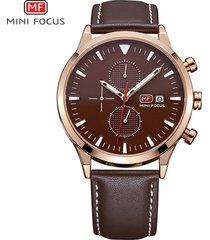 reloj para hombre/correa de piel/ mini focus / 0015g-marrón