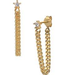 gabi rielle women's happy me star & chain 14k goldplated sterling silver & crystal stud earrings
