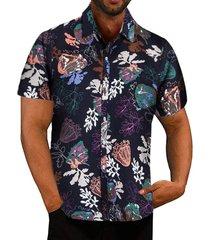 camisa estampada de dibujos animados casual de verano para hombre