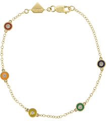 rainbow enamel and diamond bracelet