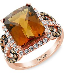 le vian chocolatier®14k strawberry gold®, caramel quartz™, chocolate diamonds® & vanilla diamonds® ring