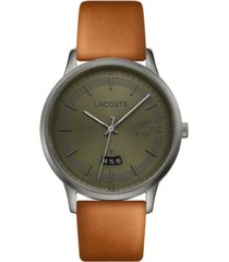 lacoste men's madrid brown leather strap watch 41mm