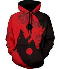 wolf print kangaroo pocket casual hoodie