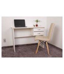kit escrivaninha com gaveteiro branca + 01 cadeira eiffel gomos - nude