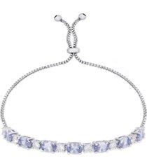 diamond accent simulated tanzanite oval bolo adjustable bracelet in fine silver plate