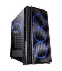 gabinete mid tower atmos lateral vidro temperado preto com led azul